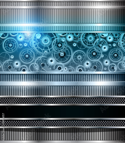 Abstract technology background blue metallic - 38916157
