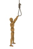 Wooden Doll pulls the arm to the gallows. 3D rendering
