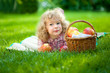 Child having picnic