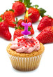 strawberry cupcake with candle