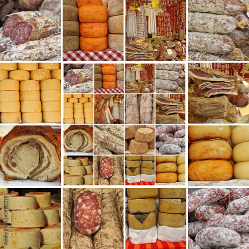 collage with  sausages and cheese
