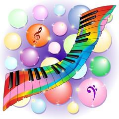 Tastiera Pianoforte Colori Design Psychedelic Piano Keyboard