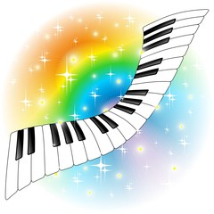 Tastiera Pianoforte Arcobaleno-Rainbow Keyboard Abstract-Vector