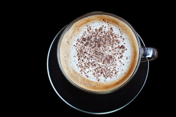 Glass cup coffee cappuccino, latte