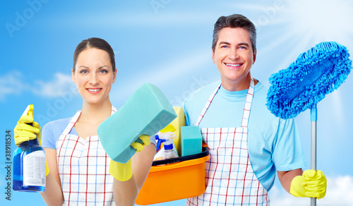 Professional cleaners team.