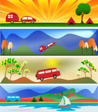 Camping and Caravaning Web Banner Templates