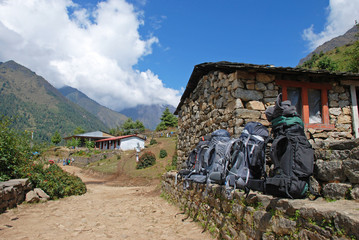 Backpacks by the trek, Himalayas, Nepal