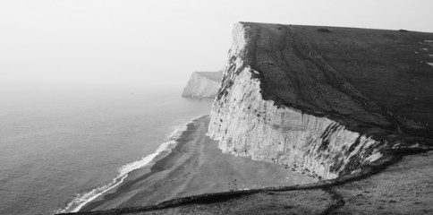 Black and White Coastal Cliffs,Lulworth Cove,Dorset