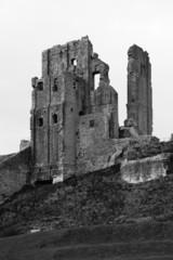 Black and White Dramatic Corfe Castle Ruin