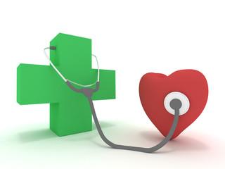 Medicina visita Cuore con Stetoscopio