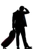 silhouette man business traveler man sad despair