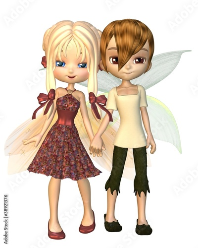 Cute Toon Fairy Friends Holding Hands