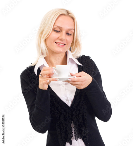 Portrait of beautiful mature woman having cup of tea