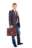 young business man holding briefcase in hand