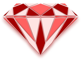 Diamant rouge en relief