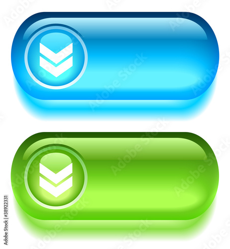Glass download buttons, vector illustration