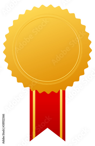 Gold blank medal, vector illustration