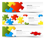 Set of puzzle horizontal banners