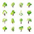 Trees. Vector logo template set.