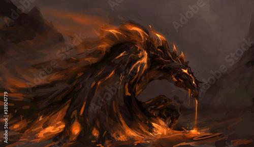 canvas print picture molten dragon