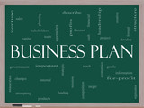 Business Plan Word Cloud Concept on a Blackboard