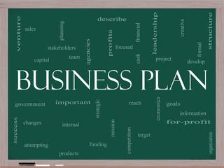 Business Plan Word Cloud Concept on a Blackboard