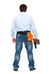 Portrait of construction worker standing back to camera