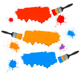 Paint brushes and paint banners. Vector illustration.