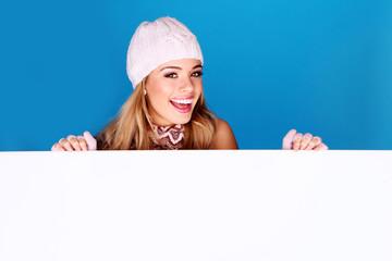 Vivacious Blonde Holding Board