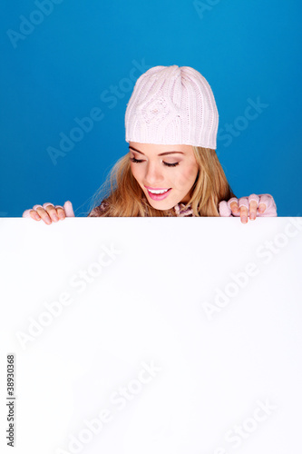 Pretty Girl Holding Blank Board