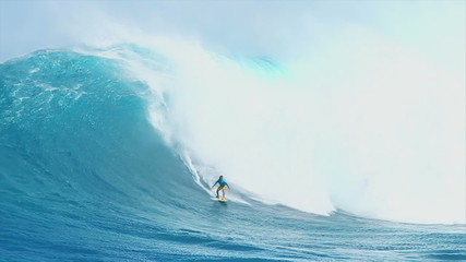 Surfer on Giant Ocean Wave