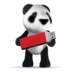 3d Panda bear backs up his data on a USB stick