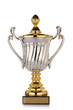 Gold trophy cup on white background