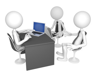 Businesspeople gathered around a table for a meeting