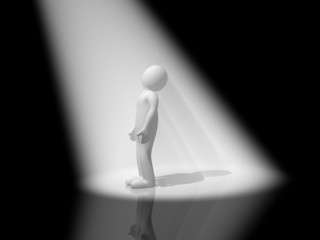 Man and volumetric light