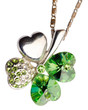 green fourleaf clover jewel pendant