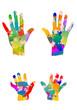 bunte kinderhände und Erwachsenenhände