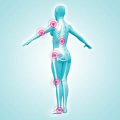 Silhouette junger Frau mit Gelenkschmerzen