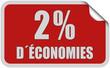 Sticker rot eckig curl oben 2% D´ÉCONOMIES