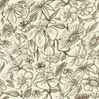 Graphic floral seamless pattern, vintage style texture