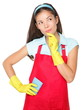 Cleaning woman thinking
