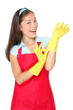 Cleaning woman with rubber gloves