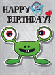 Happy birthday card with cute cartoon monster character