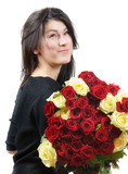 Young happy beautiful woman and roses