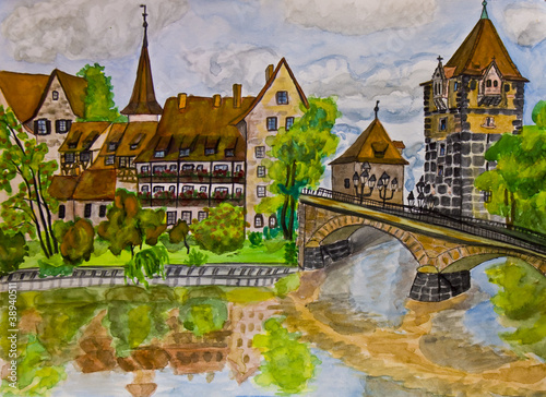 Hand painted picture, Nuremberg