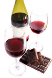 Two wine glasses of wine and chocolate