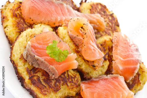 fried potato pancakes with salted salmon