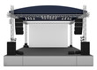 Front view of outdoor gig stage. 3D render