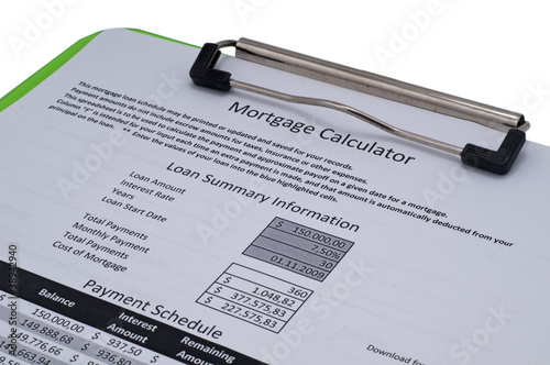 Mortgage calculation datas and payment schedule