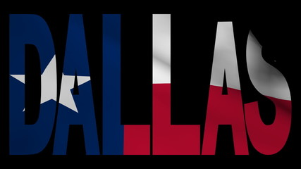 Dallas text with fluttering Texan flag animation